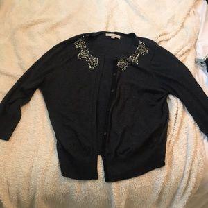 LOFT Grey Jeweled Cardigan Sweater